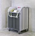 移動式梱包ゴミ圧縮減容・一時保管コンテナ